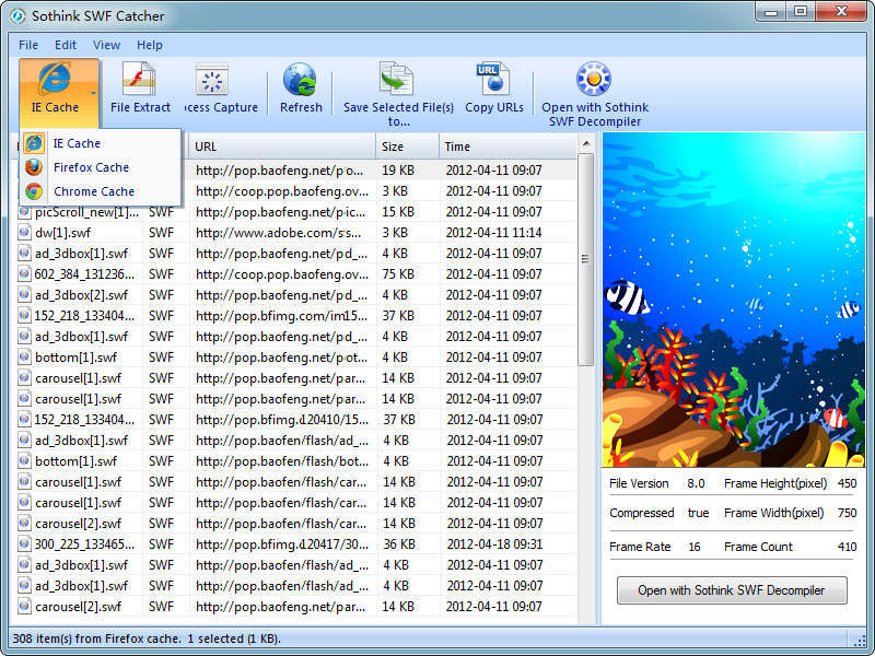 Click to view Sothink SWF Catcher 2.6 screenshot