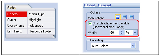 Set global settings - DHTML Menu Builder