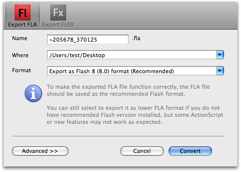 Decompile SWF on Mac - Export FLA/FLEX