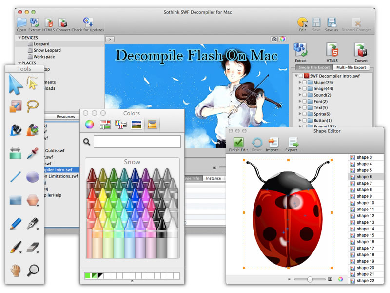 Best Flash Decompiler for Mac converts SWF to FLA/ FLEX and extracts resources.