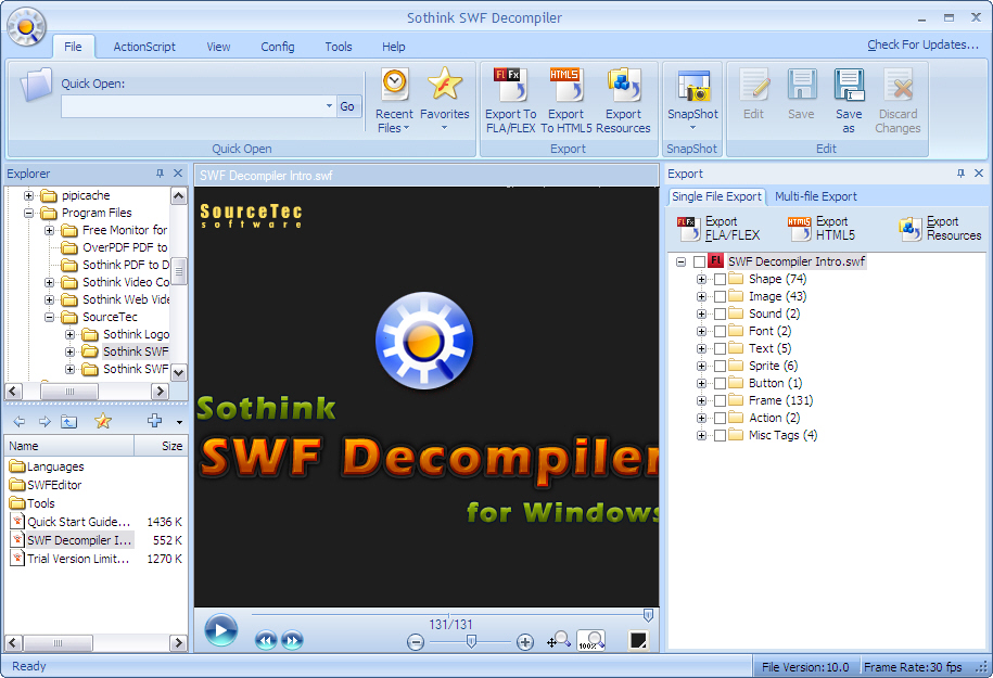 A high-performance Flash decompiler and Flash to HTML5 converter. You can convert SWF to HTML5 and SWF to FLA/FLEX; Extract Flash resources; Edit SWF by editing the shape elements or replacing image/text/sound elements; Get XFL from Flash CS5 SWF.