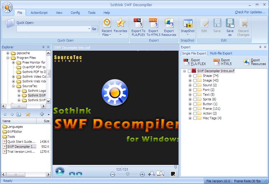 Sothink SWF Decompiler Screenshots