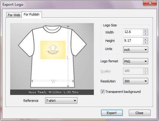 Export image for publish sothink logo maker professional for Logo t shirt maker