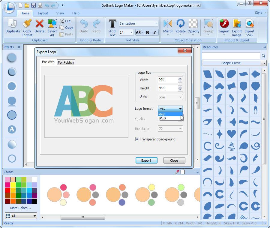 برنامج تصميم الشعارات أصنع اللوجو والتواقيع Interface-web